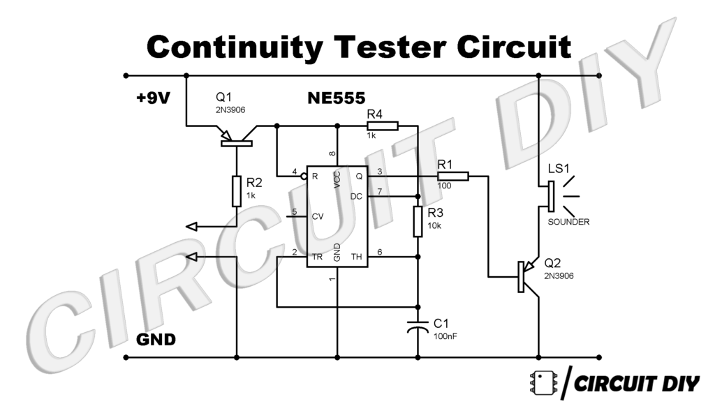 how to make continuity tester circuit using 555 timer ic