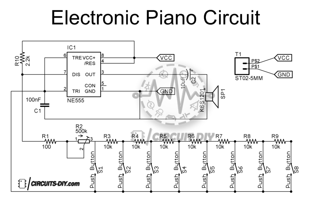 electronic piano circuit using 555 timer  u2014 circuits diy