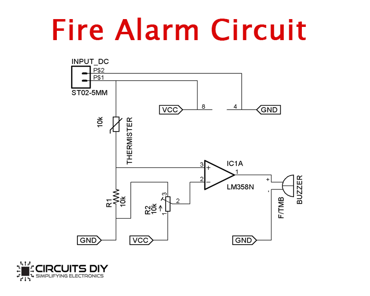 Simple Fire Alarm Circuit Using Thermistor  U0026 Lm358