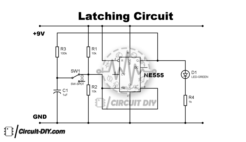 Simple Latching Circuit Using 555 Timer