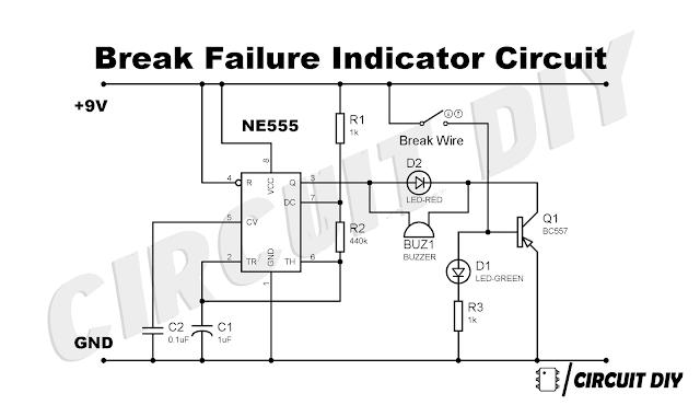 brake failure indicator using 555 timer ic