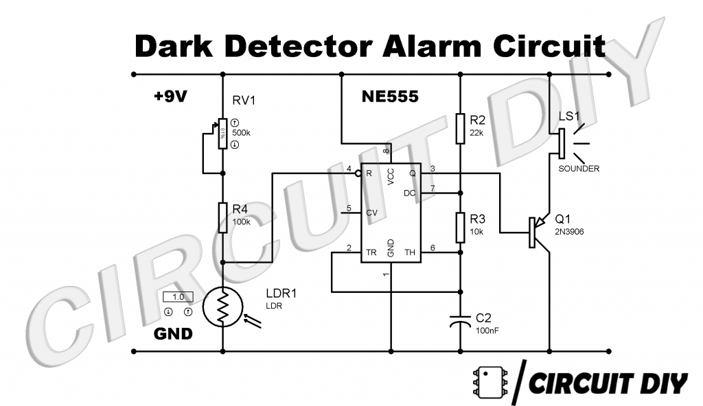 dark sensor circuit using 555 timer