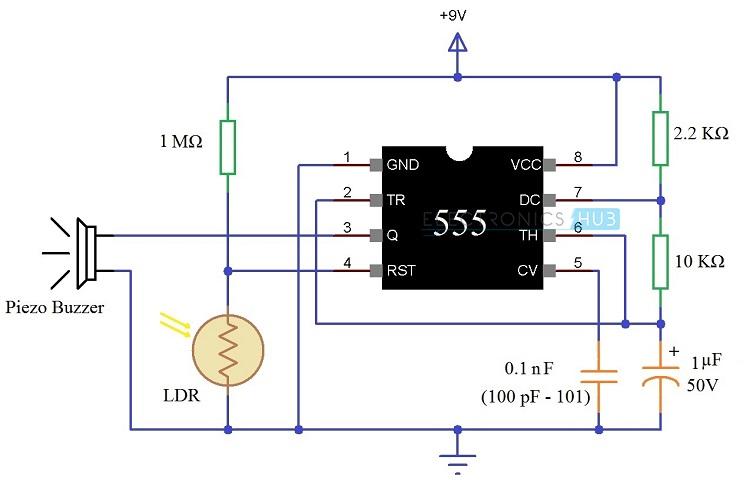 Darkness Detector Circuit Using LDR darkness detector circuit