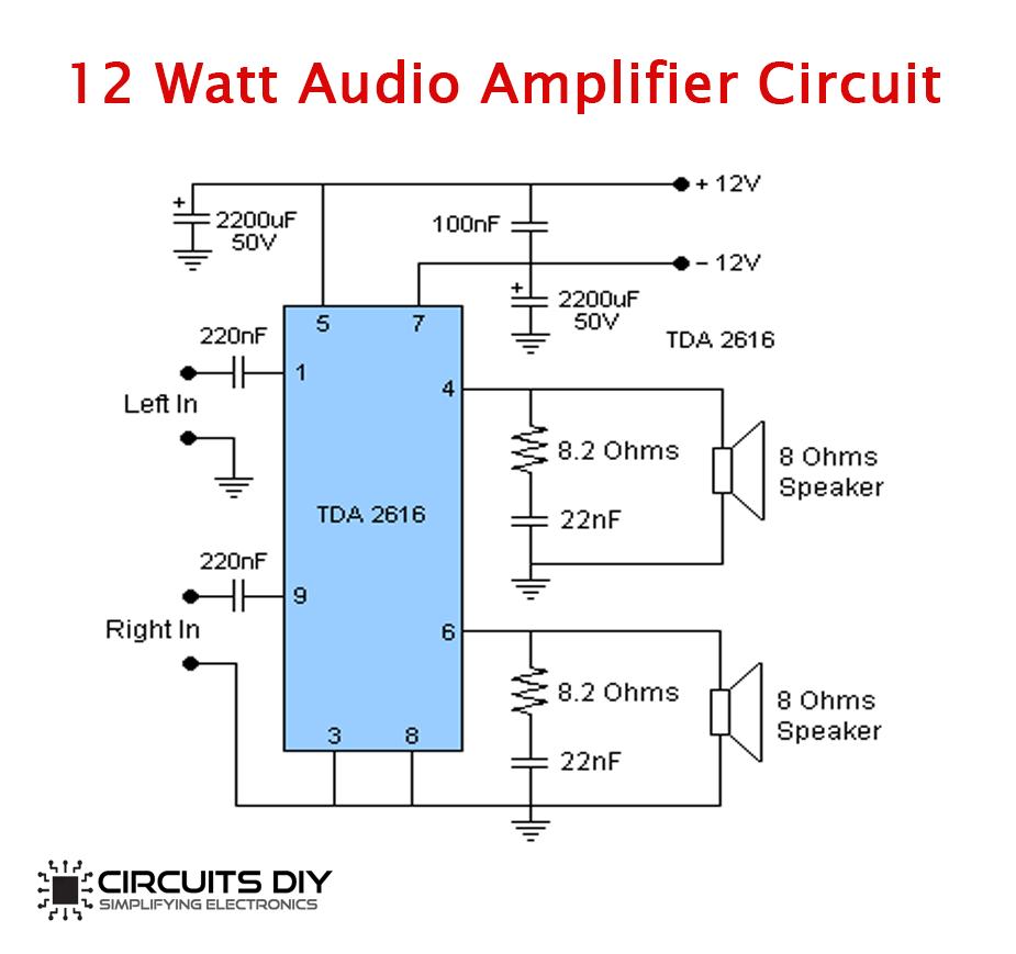 12 Watt Audio Amplifier Circuit Using TDA2616 - Power ...
