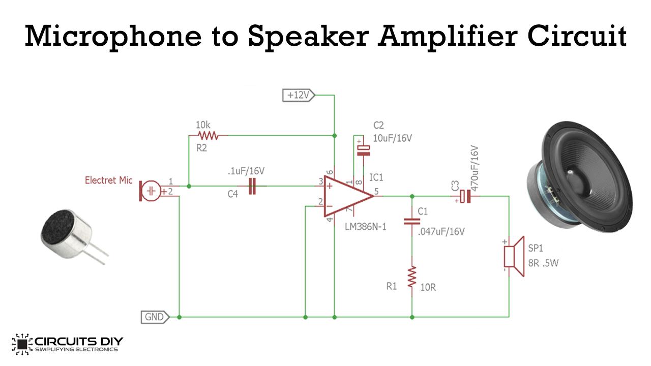 Simple Microphone to Speaker Amplifier Circuit