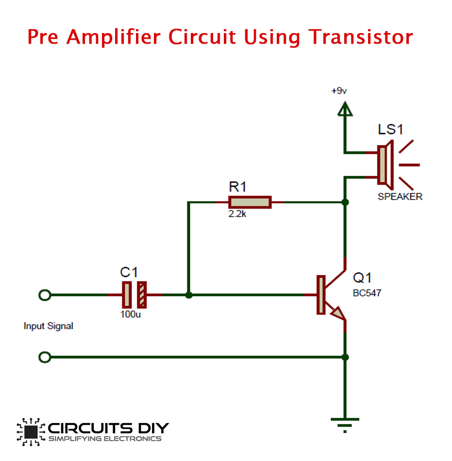 Simple Preamplifier Circuit using BC547 Transistor