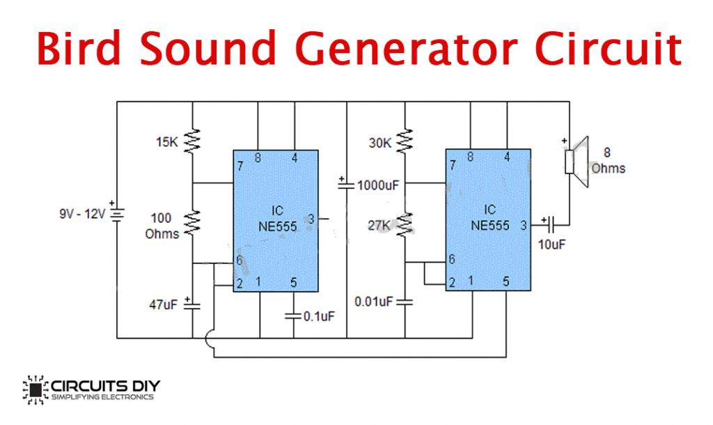 Bird Sound Generator Using 555 Timer IC