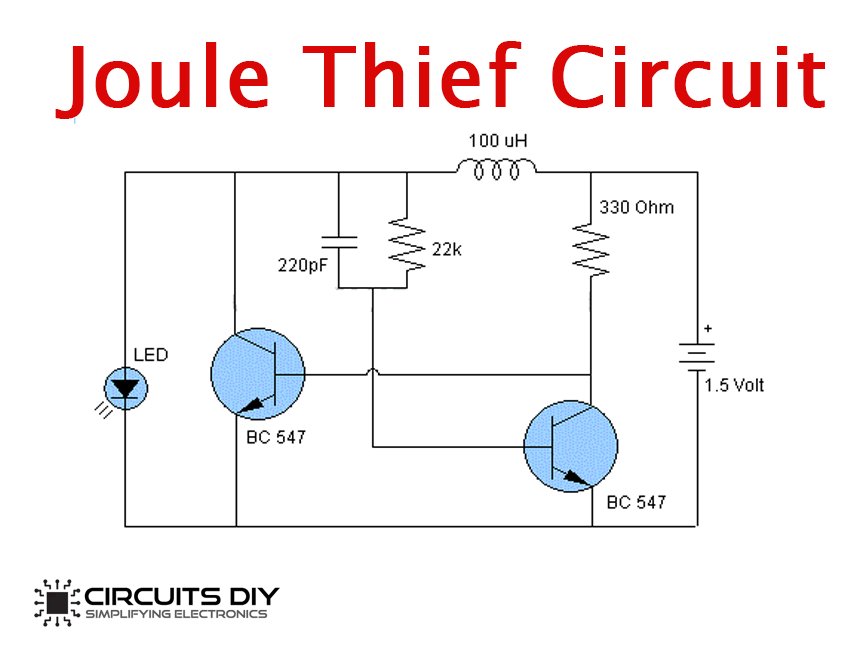 Simple Joule Thief Circuit Using Bc547 Npn Transistor