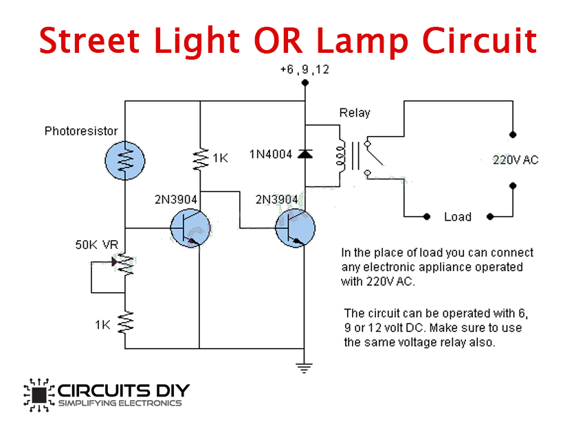 Simple Street Light Circuit Using Light Dependent Resistor