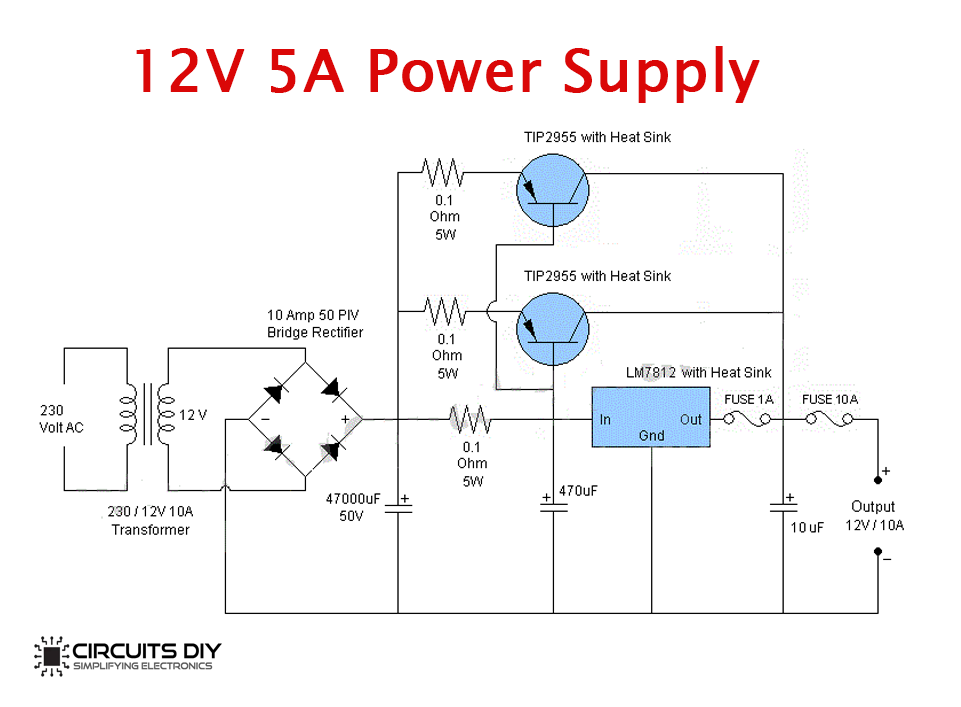12 Volt 10 Ampere Dc Power Supply Circuit