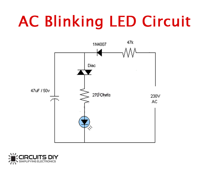 230v Ac Blinking Led Circuit