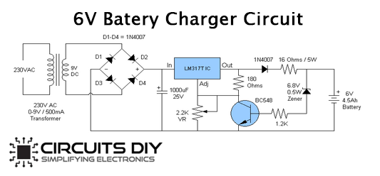 6v 4 5ah Battery Charger Circuit Using Lm317t Voltage Regulator