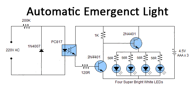 simple automatic emergency light using pc817 optocoupler