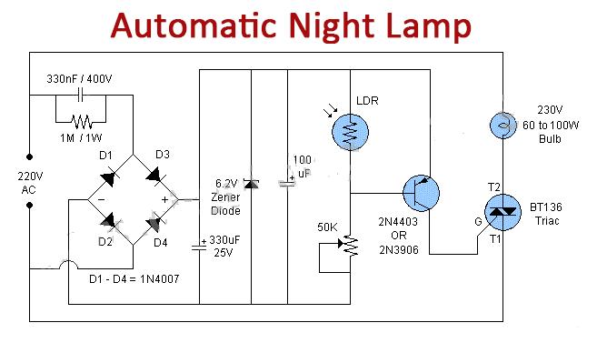 Automatic Night Lamp with BT136 TRIAC