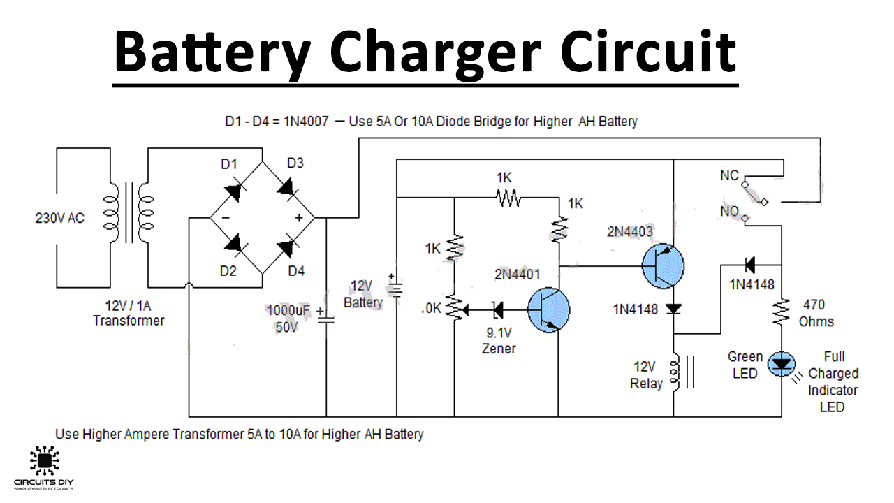 Battery Charger Circuit for 12V & 6V BatteriesCircuits DIY