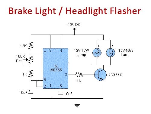 Car Brake Light Or Headlight Flasher