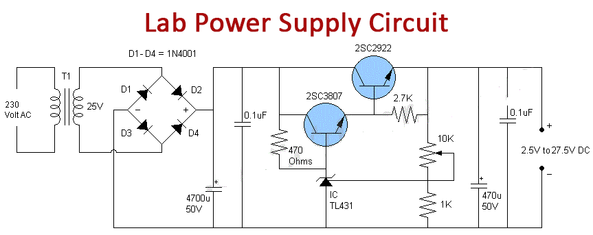 Lab Power Supply Circuit Variable 30 Volt