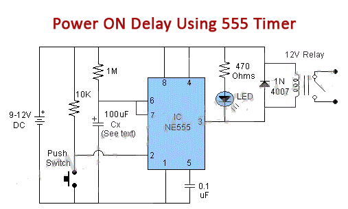 Power On Delay Using 555 Timer Ic