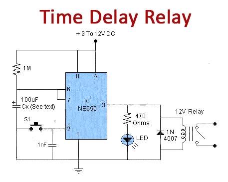 Time Delay Relay using 555 Timer IC
