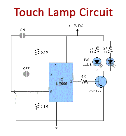 Touch Lamp Circuit Using Ne555 Timer, Touch Lamp Switch Wiring Diagram
