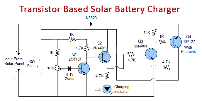 Transistor Based Solar Battery Charger With Auto Cut Off